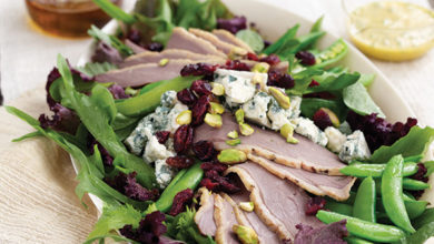 Photo of Smoked Duck Salad with Blue Cheese, Dried Cranberries, Sugar Snap Peas, and Pistachios