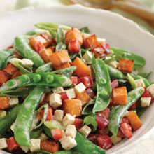 Photo of Butternut Squash, Sugar Snap Pea, Red Pepper, and Tofu Medley with Chia Seed Vinaigrette