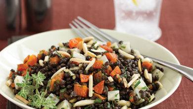 Photo of Warm Black Lentil Salad with Almonds, Apricots, and Celeriac