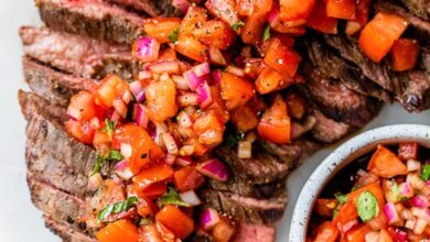 Photo of Grilled Steak With Tomatoes, Red Onion and Balsamic