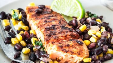 Photo of Spice Rubbed Grilled Salmon with Black Beans and Corn