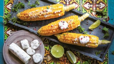 Photo of Vegan Grilled Mexican Street Corn Recipe (Creamy, Cheesy, Dairy-Free)